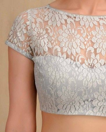 Flower Lace Silver Blouse