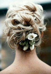 bride's messy bun wedding hairstyle