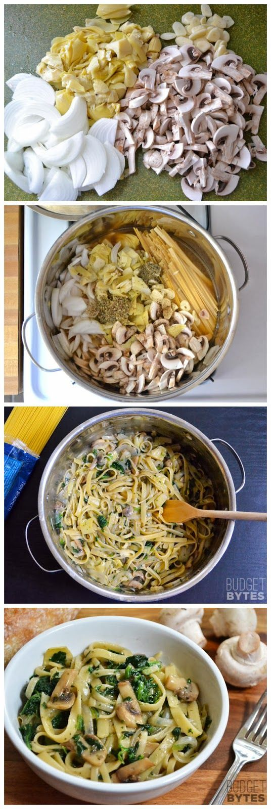 Spinach  Artichoke Wonderpot (another one pot wonder recipe)    Ingredients      8 oz. mushrooms  1 (14 oz.) can artichoke hearts