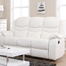 tuscany 3 seater leather sofa cleaning machine hire contour blossom white reclining + 2 ...