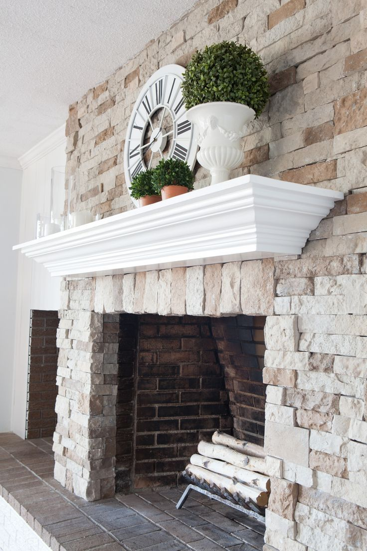 DIY fireplace and mantel makeover Click over to see how I transformed my brick fireplace to