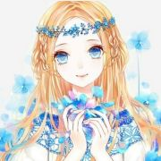 anime girl blonde hair blue