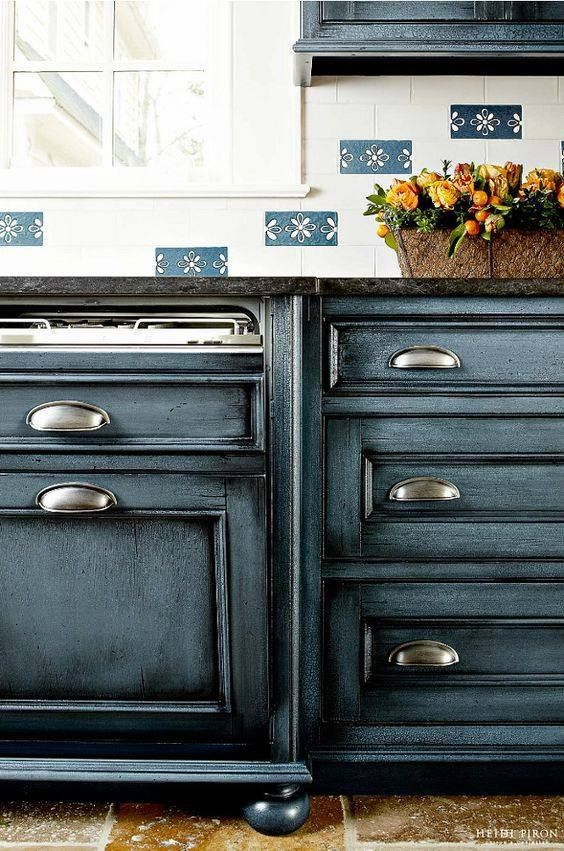 Benjamin Moore Mozart Blue with a black glaze