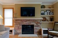 half stone wall fireplace makeover   Ideas for M&D's ...