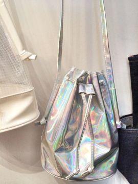 """alt= """"Holographic Bucket Bag"""""""