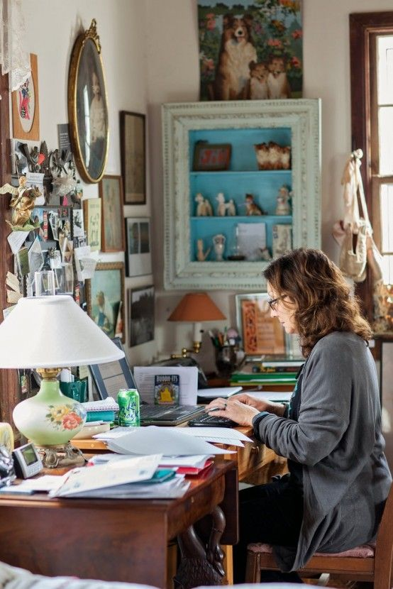 Love this office! The Collie picture above the display case are darling. Love the desk lamp and the vintage pictures above the desk. A writer's home office. by Boho Chic Designer