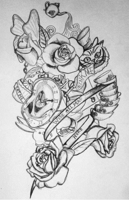 My drawing for Alice in wonderland tattoos Tattoo ideas