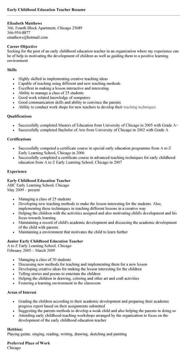 resume templates for early childhood education