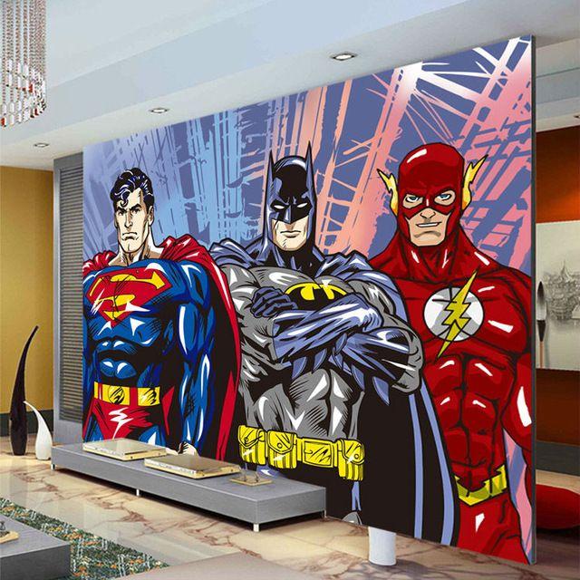 Custom 3D Wall Murals Batman Superman Flash Wallpaper Comics photo wallpaper Boys Kids Bedroom