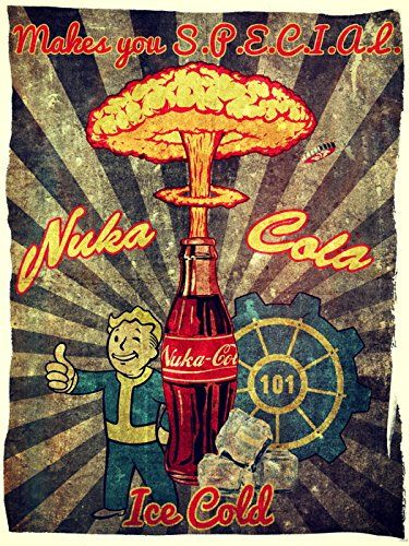 Fall Out Boy Game Wallpaper Nuka Cola Retro Ad Vault Boy Vintage Art Painting Fallout