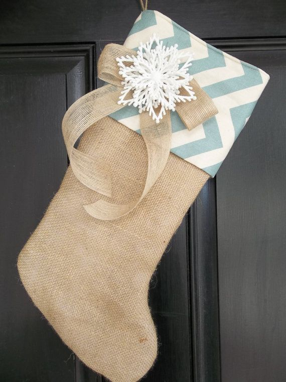 Unique Burlap and Village Blue Chevron Christmas Stocking with snowflake!!! I need a stocking like this I just fell in love with