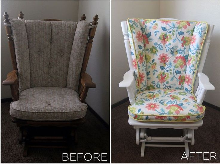cushions for glider chairs chair yoga dvd seniors repurposed furniture before and after | nursery rocker ...