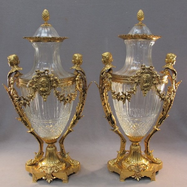 20th C Baccarat pair of glass bronze urns For the