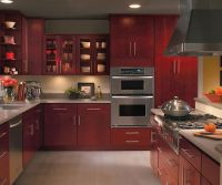 Burgundy kitchen cabinets by Homecrest Cabinetry | Paint ...