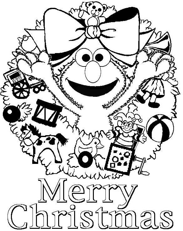 Christmas, : elma says merry christmas free coloring page