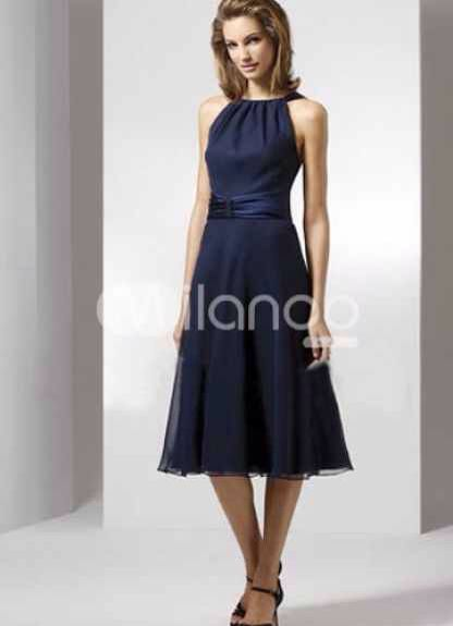 Tea length Navy blue bridesmaid dress