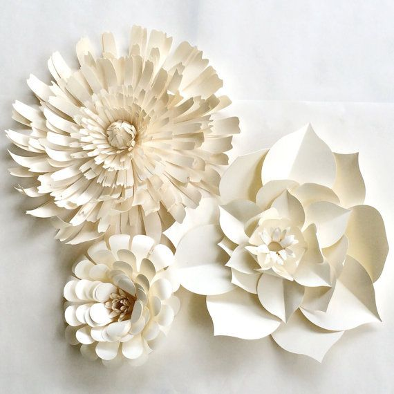 Paper Flower Wall, READY TO SHIP, white paper flower