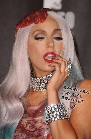 Lady Gaga wearing a Swarovski Crystal Bracelet and ...