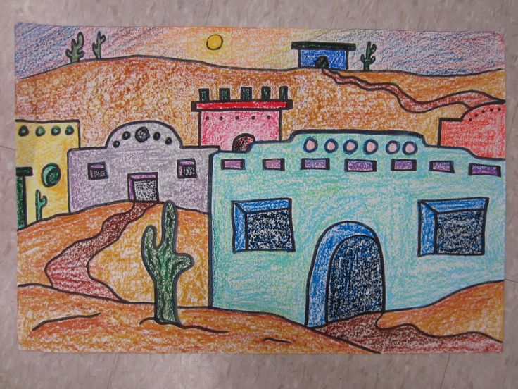 Adobe House Oil Pastels And Adobe On Pinterest