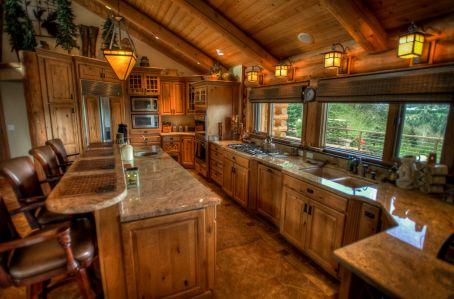 Granite countertops gourmet kitchen log home  Log Home  Pinterest  Home Log homes and