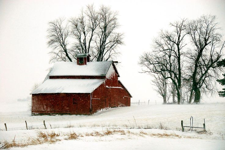 Red Barn In Snow Storm Structure The Barn Pinterest