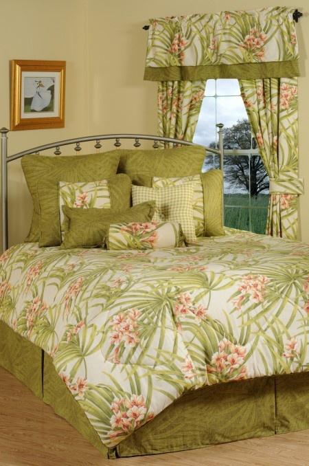 Sea Island Green  Peach Tropical Bedding Comforter Ensemble