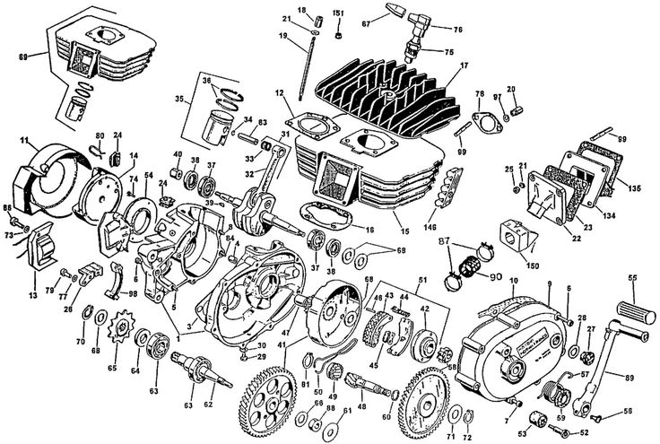 small 2 cycle engine exploded parts view