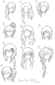 hairstyles - anime manga drawing