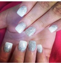 Silver Glitter Nails With Design