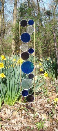 Stained glass garden art stake blue purple garden yard ...