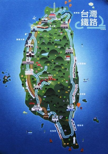 Taiwan Railway map  Taiwan map postcards  Pinterest