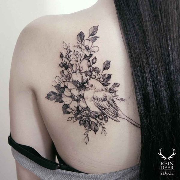20 Tattoos Birds Shoulder Blade Roses Ideas And Designs