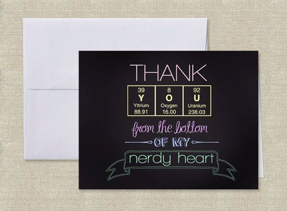 Periodic Table Of Elements Science Thank You Card Reading