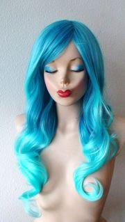 aqua blue ombre wig. long curly