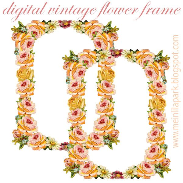 Digital Vintage Flower Frame Peach Colored Blumenrahmen Freebie