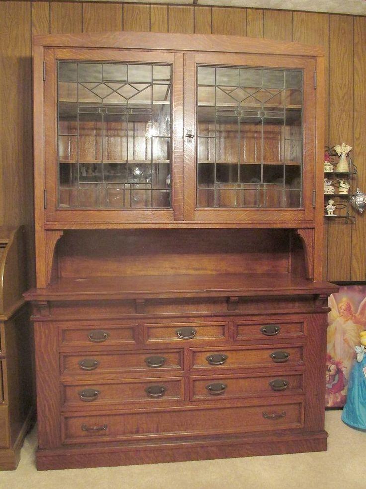 Antique tiger oak leaded glass sideboard hutch 5 x 7 2