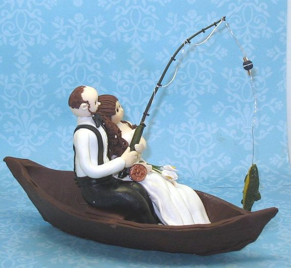 Custom Wedding Cake Topper Fishing Theme By