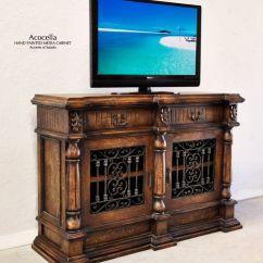 Living Room Decor Turquoise Accent Wall In Spanish Hacienda Furniture.. Acocella Media Cabinet ...
