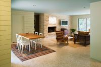 terrazzo floors~ I want to remember this. That brown rug ...
