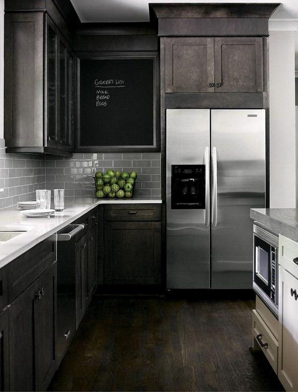 I Love!!! Dark Black Brown Cabinets & Stainless Steel