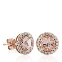 Morganite & Diamond Earrings 14K Rose