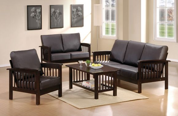 Small Living Room With Black Wooden Sofa Sets Design