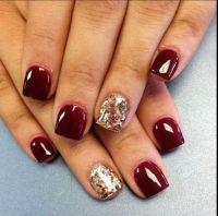 Short nails #Burgundy #Gold glitter