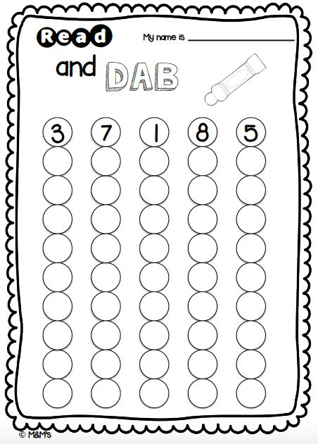 Count and Dab Early Number Sheet Created by the M&M's