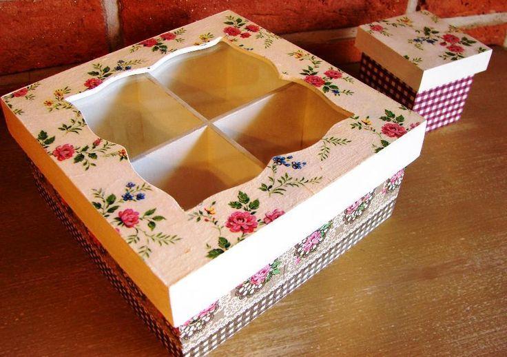 Cajas de te en madera decoradas en decoupage  decoupage  Pinterest  Decoupage and Tes
