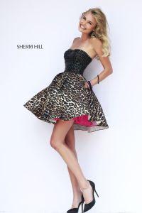 Sherri Hill 32146 short leopard prom dress with black ...