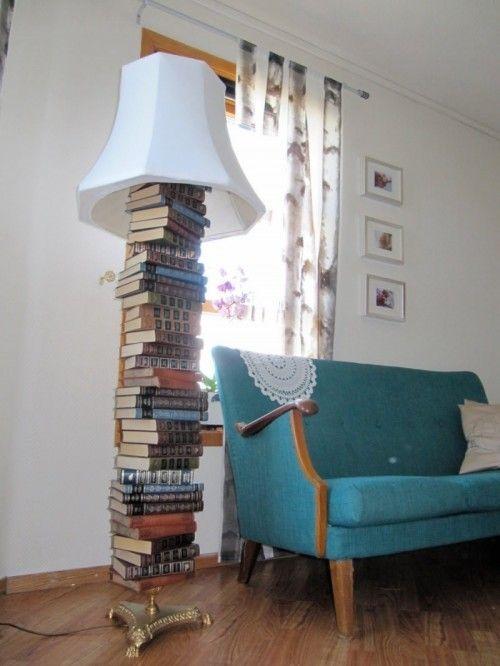 Repurposed old books into a floor lamp