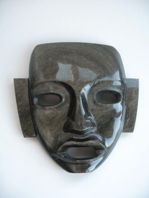 Aztec Mask Wall Hanging Black Obsidian Teotihuacan