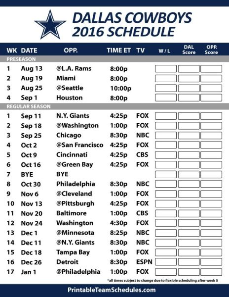 Dallas Cowboys Schedule 2019 Latest News And Photos