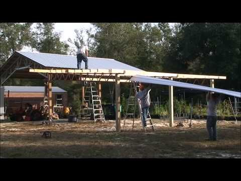 How To Install Lean Tos On A 20x40 Steel Truss Pole Barn Kit YouTube DIY Barns Workshops